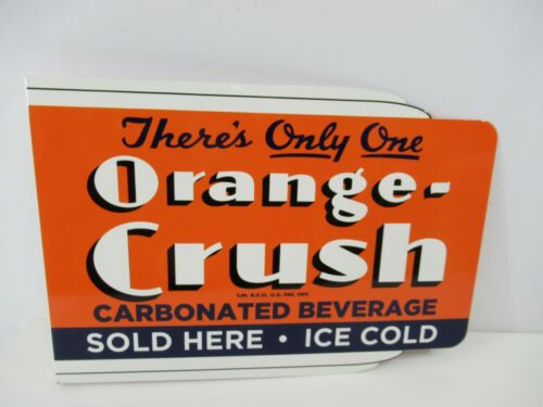 """Orange Crush Reissue Wall Mount Flange Sign 2-Sided 17"""" Soft Drink Advertising"""