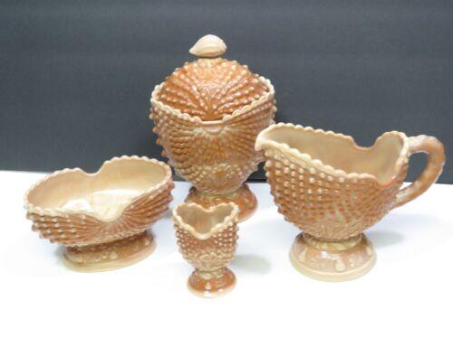 4 Pcs L G Wright Slag Glass Caramel Argonaut Shell Brown Sugar Creamer Toothpick