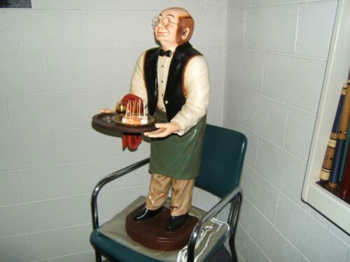 """VNTG 38"""" BUTLER STATUE w TRAY RESTURANT KITCHEN BAR MAN CAVE COLLECTIBLE"""