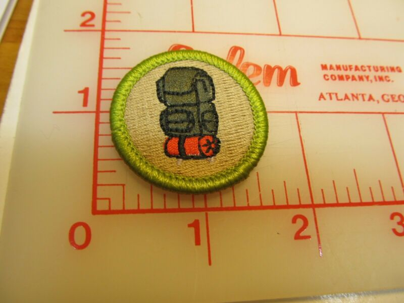 Scout stuff backed BACKPACKING merit badge emblem patch (yZ)