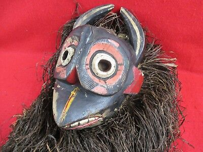 Tribal Art Carving - Indigenous Tribal Art Face MASK Carving with Horns