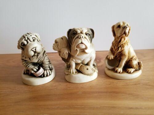 Harmony Kingdom Bulldogs / Golden Retriever  / Shar Pei Dog. Lot of  3