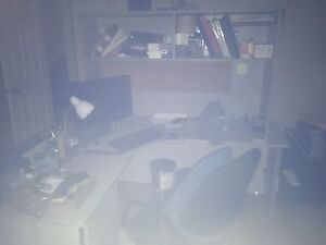 Computer desk, grey, very sturdy, with hutch, you move it, $50