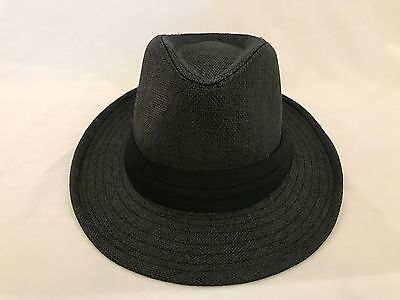 MEN Straw Hat Trilby Cuban Cap Summer Beach Sun Panama Short Brim Black  Unisex b48418777d6d