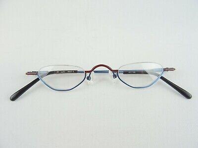 Halbbrille/Lesebrille mit kleiner Glasform blau-braun Halbrandlos Gr. M 42-28