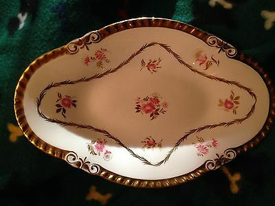 "Royal Chelsea English China Oval Dish 10"" x 6.5"", Pink Roses, Heavy Gold Trim"