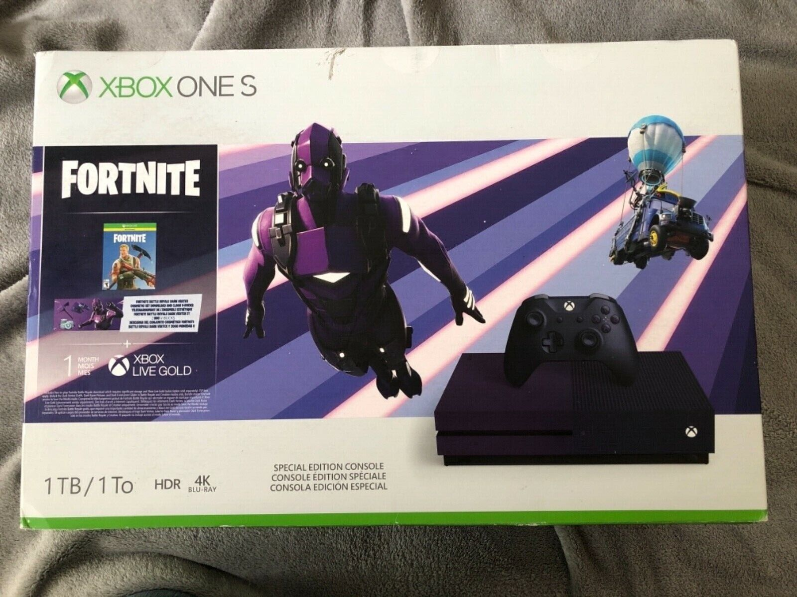 Xbox One S 1TB Purple Console Fortnite Battle Royale Special