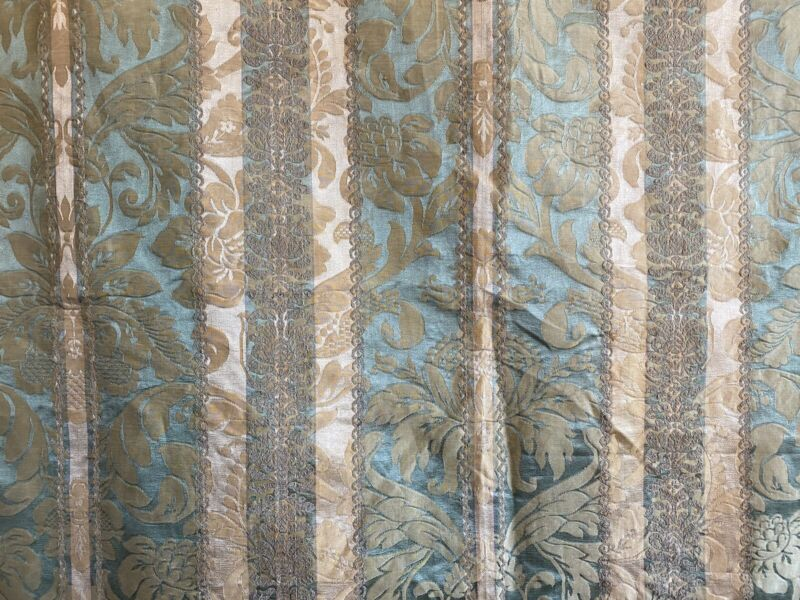 Beautiful Early 20th century French Striped Silk Woven Jacquard Fabric (3192)