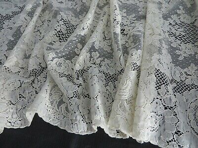 """LOVELY   EMBROIDERED  VENISE FLORAL NYLON NET TULLE  DEEP EDGE  BTY  ABOUT 5/"""" WD"""