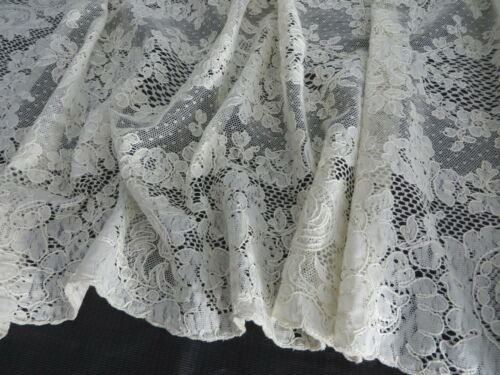 Vtg French ALENCON LACE Long Runner Needlelace Flowers Swirling Leaves 55X16