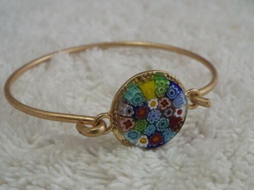 Goldtone Millefiori Glass Bracelet (F24)