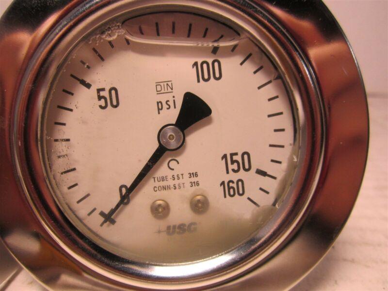 """U.S Gauge 656239AT4CD3BOG Liquid Filled Pressure Gauge 0 to 160 psi, 2-1/2"""" Dial"""