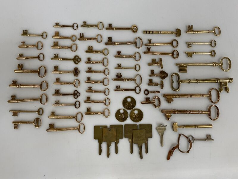 Antique Brass Skeleton Hotel Key And Fobs Lot
