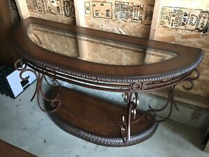 Solid wood, glass and iron table