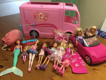 Barbie campervan, car, barbie dolls, clothes and accessories