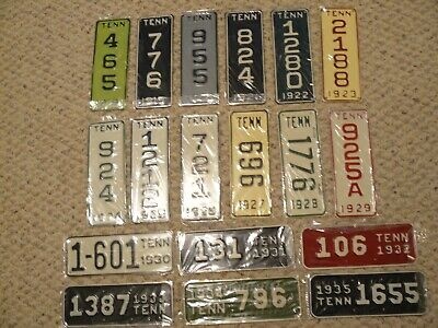 Tennessee Motorcycle license plates 1918-1935