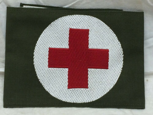 Vintage Red Cross Cloth Band Double Sided Army Green White