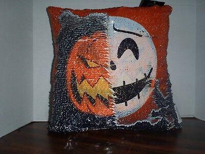 Nightmare Before Christmas Disney Jack Sequin Pillow Skellington Halloween ()