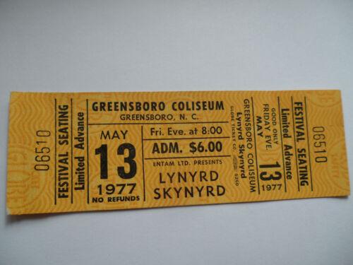 LYNYRD SKYNYRD 1977__UNUSED__CONCERT TICKET__Greensboro, NC__EX-