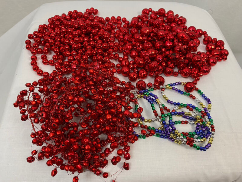 Lot of 4, Vintage Beaded Christmas Garland, Mixed Designs
