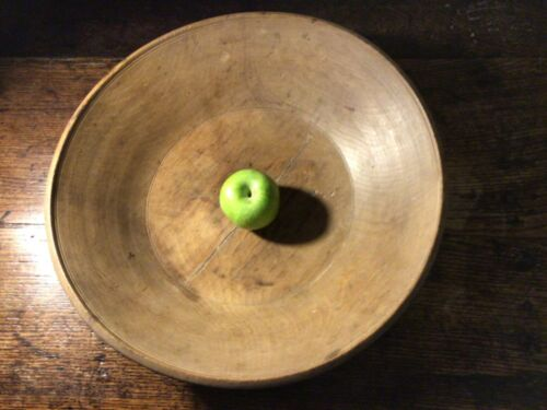 Superb characterful large antique patinated turned treen dairy bowl 15 1/2 ins