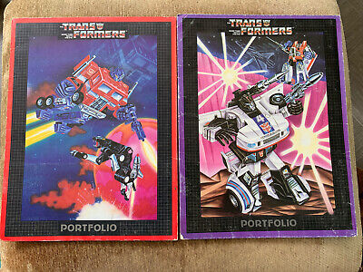 Lot of 2 Vintage Transformers Portfolio Folders Jazz Optimus Prime 1984 Rare