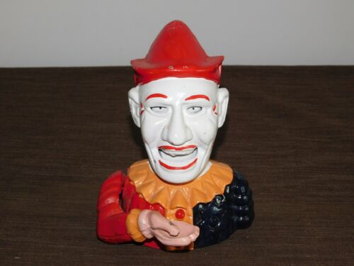 "VINTAGE 6 3/4"" HIGH CAST IRON METAL MECHANICAL CLOWN JESTER BANK"