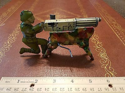 1940's MARX TIN LITHO 3D WWI MACHINE GUN SOLDIER WIND UP CLICKER TIN TOY LOT