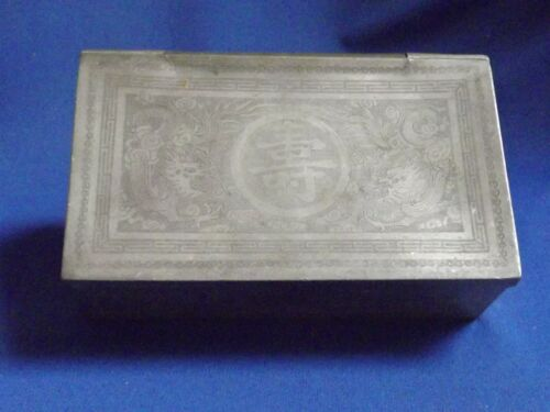"""Antique Chinese Pewter Tea Caddy 7""""x4 1/2"""" Calligraphy Signed Box Incised Dagons"""