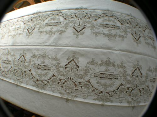 """Antique Madeira Elaborate Heavily Embroidered Cutwork Banquet Tablecloth 65""""X134"""