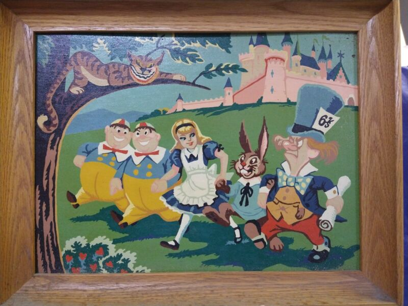 Vintage completed paint by number, Alice in Wonderland painting/framed