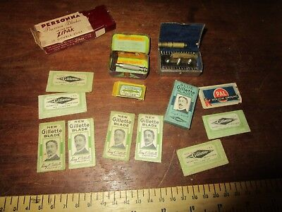 Antique Gillette Razor Blades in packets + 2 miniature razors.The Laurel in tin