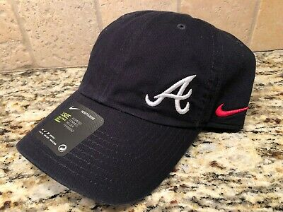 ATLANTA BRAVES WOMEN'S NIKE NAVY STRAPBACK COTTON ADJUSTABLE HAT CAP