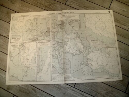 Vintage Admiralty Chart 3789 PLANS IN THE PERSIAN GULF 1962 edn