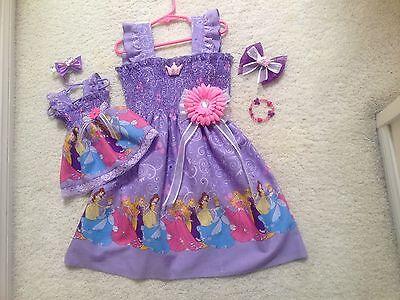 New Purple Princess &Cinderella DressToddler/Girls (2T-7/8Y) HairBow,Doll Dress