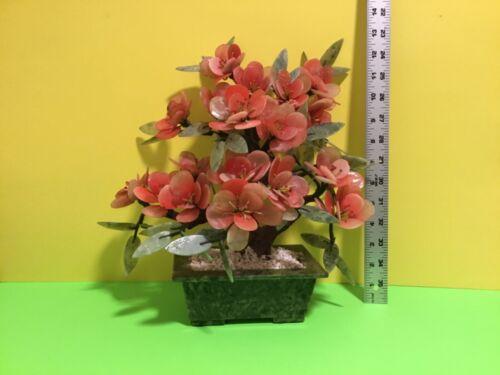 Vintage large Chinese Jade Tree Pink Quartz Stone Flowers Bonsai