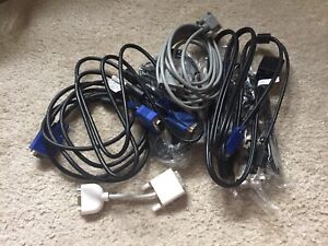 A Bunch of Random VGA and DVI Computer Monitor Cables