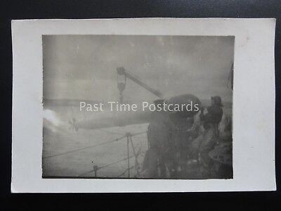 Navy Naval TORDEPO BEING WINCHED ABOARD UNKNOWN SHIP - Old RP Postcard