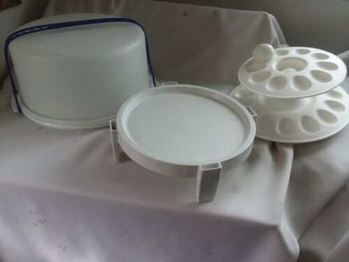 Tupperware Blue Speckled Maxi Cake Taker EggCeptional & Divide A Rack