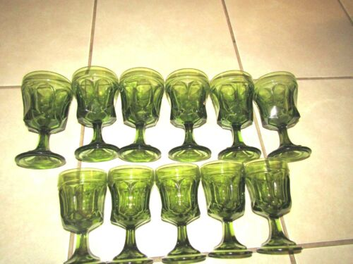 Vintage Indiana Glass Footed Thumbprint Water (6) & Wine/Juice (5) Goblets