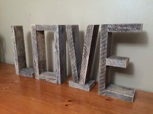 Weathered Grey Love Sign Lettering
