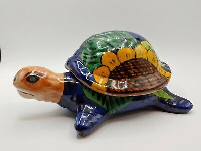 "Ceramic Mexico Folk Art Turtle Trinket Box Figurine Hand Painted 8""L x 4"" H"