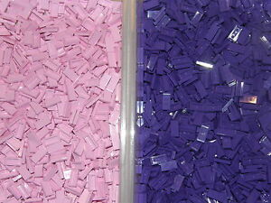 LEGO 100 x PINK & PURPLE  FLAT TILES BRICKS 1 x 2   No 3069  (50 pink+50 purple)
