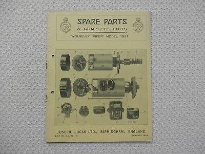 WOLSELEY VIPER 1931 LUCAS Parts List published January 1932