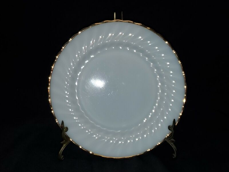 "Set of 8 MCM Anchor Hocking Suburbia 10"" Dinner Plates Gold Trim Milk Glass"