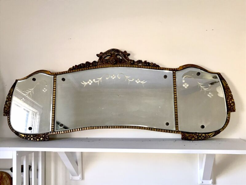 Antique Mirror For Buffet Sideboard Three Paneled Beveled Etched Gilt Carvings