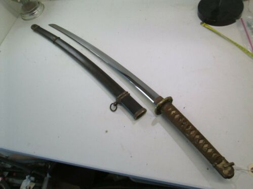 WW2 JAPANESE OFFICERS SWORD WITH SCABBARD SIGNED KOA ISSHIN DATED GENDITO #N74