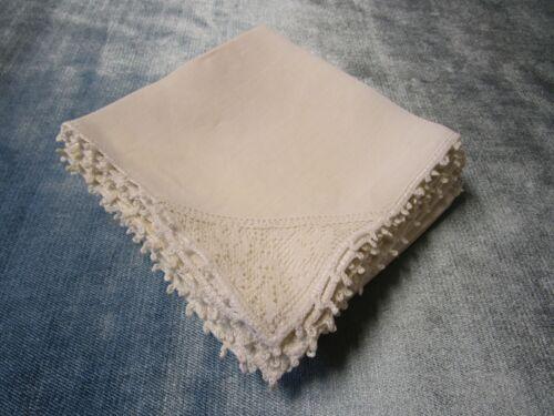Antique 12 White Linen Napkins Floral Filet Lace Corner Picot Trim Elegant!