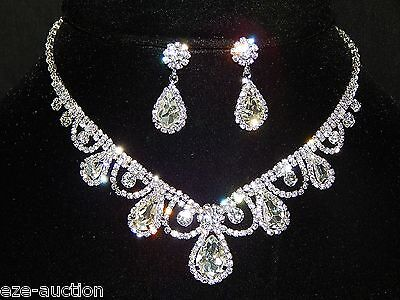 Bridal Silver With Clear Rhinestone Crystal Necklace and teardrop Earrings Set