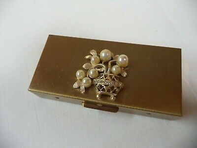 Vintage Gold-tone Metal Pill/Cigarette Case/Stash Box Faux Pearls, Rhinestones